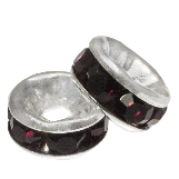 Rondelles Avec Strass (6 x 3 mm) Deep Crimson (10 pièces)