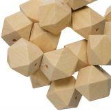 Perles En Bois Naturel Cube  (30 mm) 5 pièces