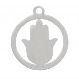 Acier inoxydable Breloque Hamsa (16 x 15 mm) Argent Antique (4 pièces)