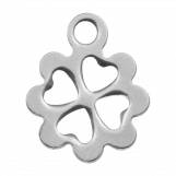 Acier inoxydable Breloque Trèfle à feuilles (13 x 10 mm) Argent Antique (20 pièces)