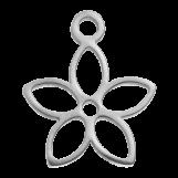 Acier inoxydable Breloque Fleur (13 x 11 mm) Argent Antique (4 pièces)
