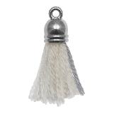 Pompon imitation (20 mm) Cotton White Grey / Argent (5 pièces)