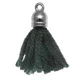 Pompon imitation (20 mm) Pine Green / Argent (5 pièces)