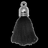 Pompon imitation (20 mm) Black / Argent (5 pièces)