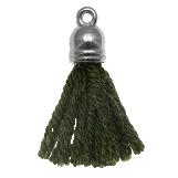 Pompon imitation (20 mm) Seaweed / Argent (5 pièces)