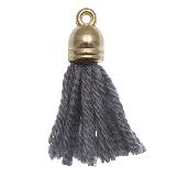 Pompon imitation (20 mm) Porpoise Grey / Argent (5 pièces)
