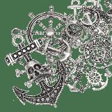Breloques Ancre de Navire (différentes tailles) Argent antique (60 pièces)