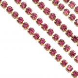 Chaîne Strass en Acier Inoxydable (2 mm) Pink / Or (2 mètres)