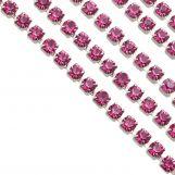 Chaîne Strass en Acier Inoxydable (2 mm) Pink / Argent Antique (2 mètres)