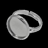 Bague Ajustable (pour 14 mm Cabochon) Argent Antique (5 pièces)