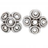 Calotte de Perles (12 x 6 mm) Argent Antique (10 pièces)