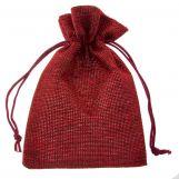 Sachets à bijoux en jute (10 x 14 cm) Dark Red (10 pièces)