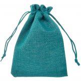 Sachets à bijoux en jute (10 x 14 cm) Turquoise (10 pièces)